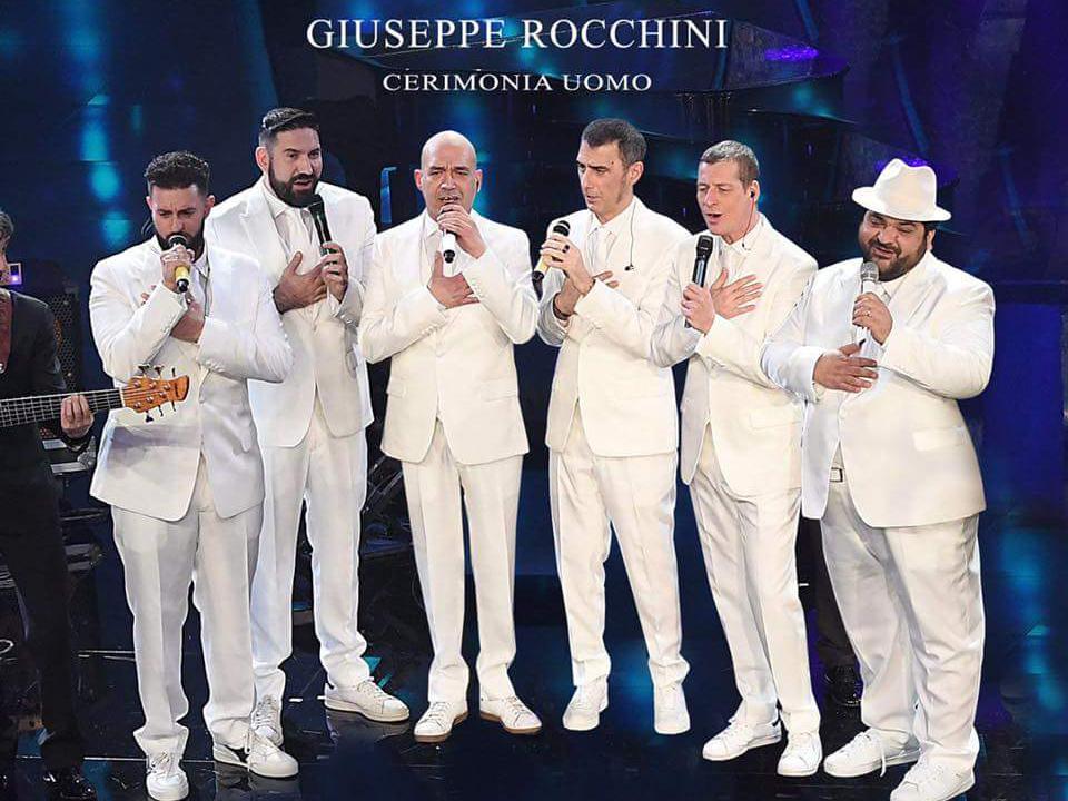 Gli abiti di Rocchini Cerimonia sono arrivati sul palco del Teatro Ariston a Sanremo con i Neri Per Caso